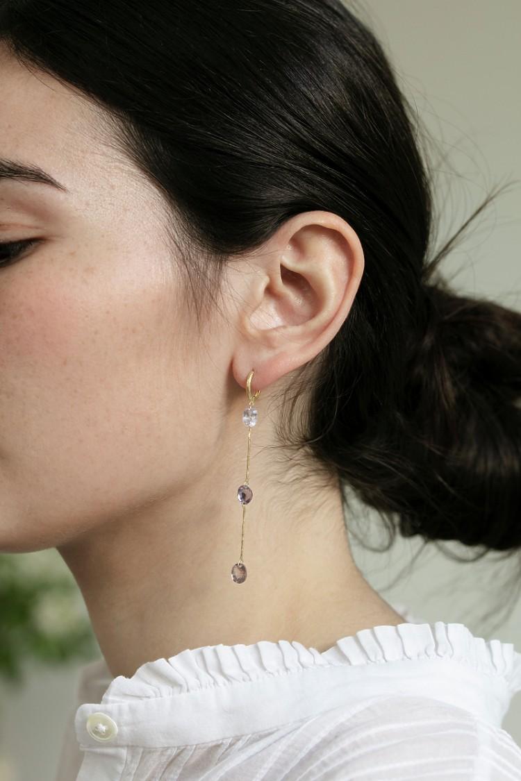 Earrings Three Spinel